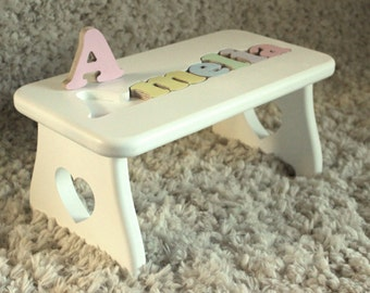 Puzzle Name Step Stool - New baby, First birthday, Second birthday, Nursery decor, Personalized child's gift, Educational toy, Love, Heart