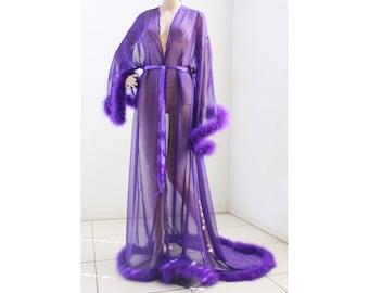940cd412c7 Giselle Regal Purple Sheer Robe with fur trim
