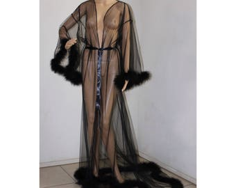 5b481ea05 Giselle Sheer Fur Robe Lingerie Black with satin ties / black feather robe  / Fur trimmed robe / black lingerie