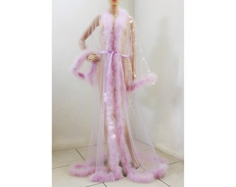 Giselle Sheer Fur Robe Lingerie Lavender with front fur trim  fur trimmed  robe   feather robe 8d473a688