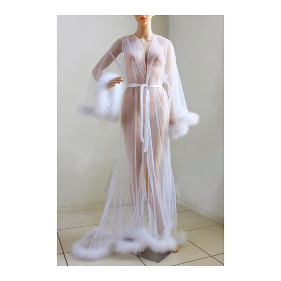 Giselle Snow White Sheer Robe With Fur Trim Fur Trimmed Robe Etsy