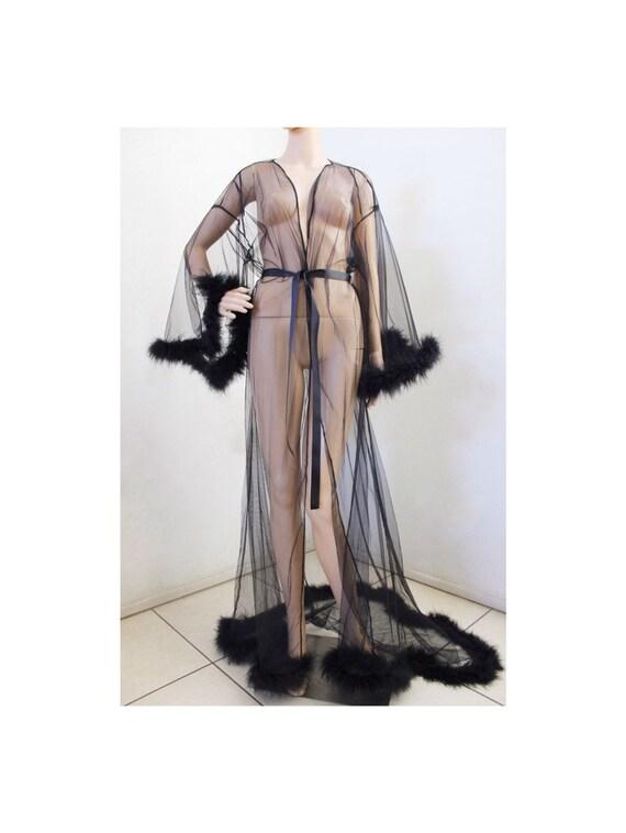 suitable for men/women fine quality better Giselle Sheer Fur Robe Lingerie Black with satin ties / black feather robe  / Fur trimmed robe / black lingerie
