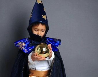 Wizard Costume, Magician, Magician, Halloween, Halloween Costume, Kids Costume, Magician, Fortune Teller, Children's Carnival Costume,
