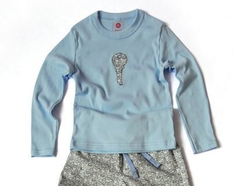 """Children pajamas, pajamas """"key"""", pajamas, retro, pattern, boys, girls, Christmas gift, nightgown, pajama pants, classic"""
