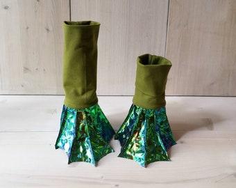 Frog legs, dragon feet, fins, anklen fins,boots,enfüße, Flossen, Gamaschen, Füße, Stulpen, Karnevalskostüm, Kinderkostüm, Halloweenkostüm,
