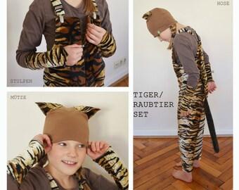 Tiger Costume Set, Tigerkostümset, Tiger Pants, Predator Pants + Hat +  Gauntlets, Halloween