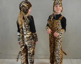 SET - Tiger Kostüm, Tigerkostümset, Tigerhose, Raubtierhose, Mütze, Stulpen, Halloween, Halloweenkostüm, Kinderkostüm Tiger, Kinderhose,