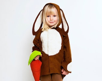 Set rabbit costume + carrot, children costume, Halloween, Halloween costume, disguise, bunny, carnival costume, carnival, role playing games