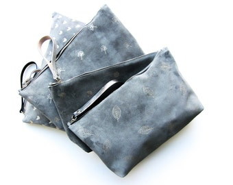 suede clutch grey handprinted