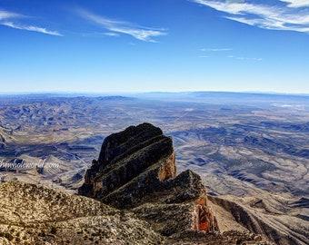 Guadalupe Peak Photo, Guadalupe Mountains Print, Wall Art Mountains, Texas Summit