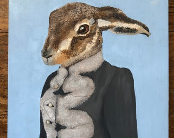 Anthropomorphic Oil Painting on Board Harold Hare with Fur Collar