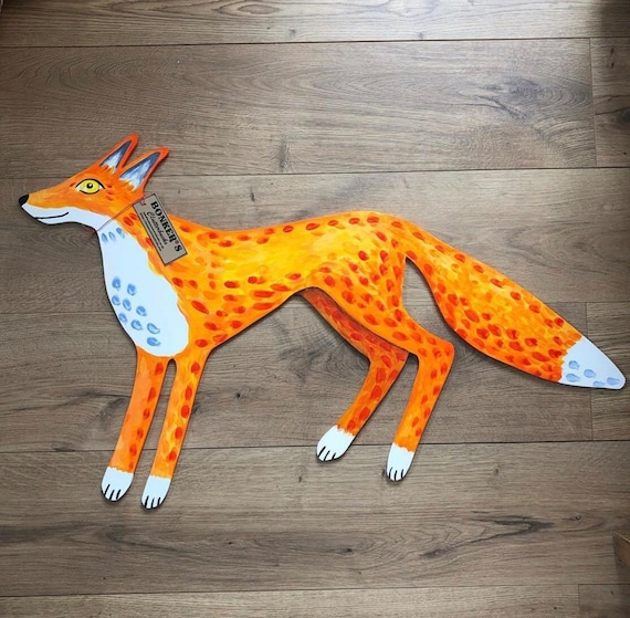 Ferdinand Painted Wooden Cut Out Fox Indoor Wall Plaque