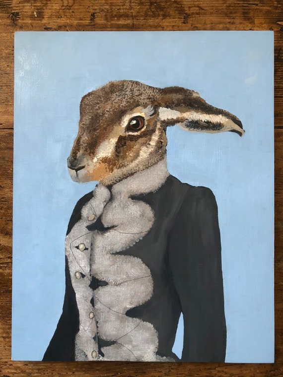Hugh Hare with Fur Collar and Blue Surround