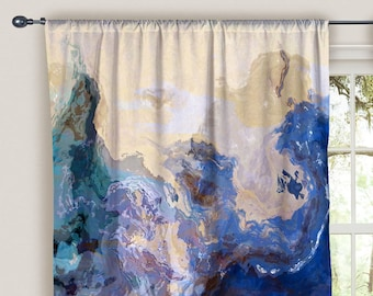 Abstract Art Shower Curtain In Blue Green Aqua And Cream Cool Cucumber