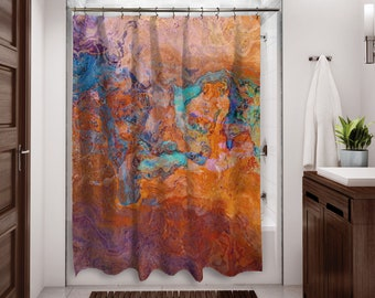Abstract Art Shower Curtain Contemporary Bathroom Decor Southwest In Rust And Turquoise Archetype