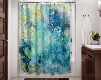 Abstract Art Shower Curtain Contemporary Bathroom Decor Blue Green Aqua Cream From Original Cool Cucumber