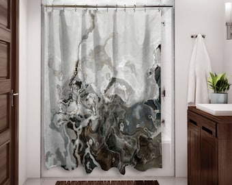Abstract Art Shower Curtain Contemporary Bathroom Decor Brown And Gray From Original Geologica
