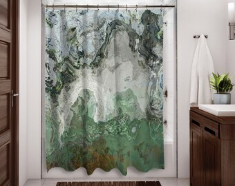Abstract Shower Curtain Contemporary Bathroom Decor Gray And Green Art From Original River Wind