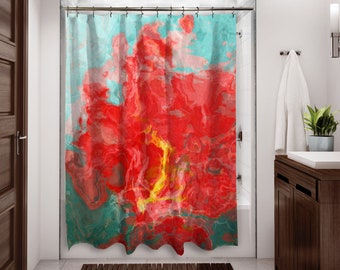 Abstract Shower Curtain Contemporary Bathroom Decor Red And Aqua Art From Original Hot Cool