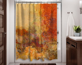 Abstract Shower Curtain Contemporary Bathroom Decor Red Orange Brown And Cream Art From Original Magma