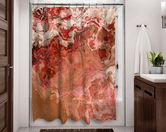 Abstract Art Shower Curtain Contemporary Bathroom Decor Peach From Original Just Peachy