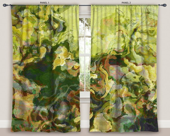 Dancing Lights Reflection by artfulfreddy Colorful  Yellow Grey Gray Glass Custom Curtain Panel by Spoonflower Abstract Curtain Panel