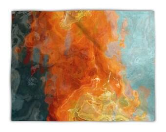 Lightweight fleece blanket throw, plush fleece throw, 50x60, 60x80, Abstract Art blanket orange contemporary decor, Electric Illusion