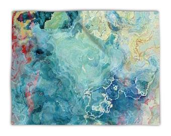 Abstract Art blanket throw, plush fleece throw 50x60, 60x80, lightweight fleece blanket aqua and cream, contemporary decor, Cool Cucumber