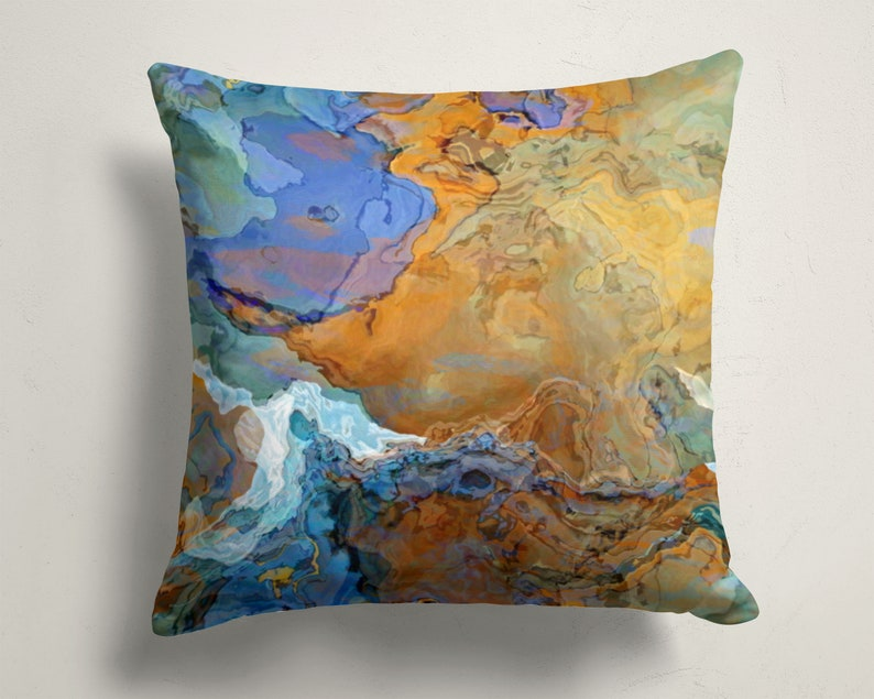 Decorative Pillow Cover with Abstract Art 16x16 and 18x18 image 0