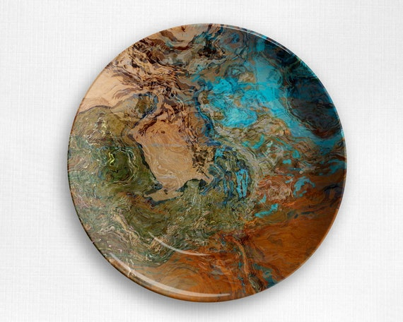 No Melamine Geologic Abstract Art Plate or Bowl Unbreakable Outdoor Dinnerware in Warm Gray and White Microwave Safe Polymer Plastic