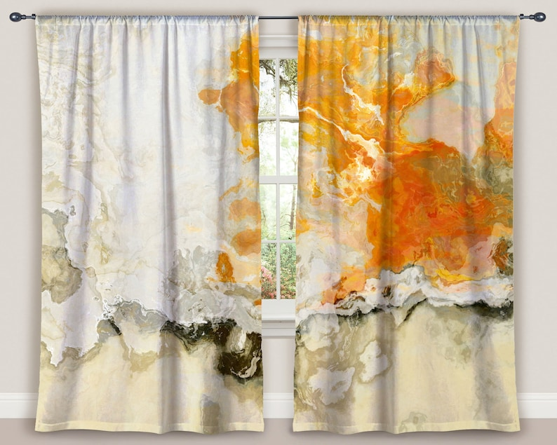 Abstract art window curtain set in cream and orange Rhymes with Orange two 50x84 panels blackout drapes contemporary rod pocket drapes