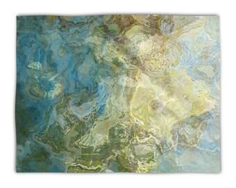 Abstract Art plush fleece blanket throw, 50x60, 60x80, lightweight fleece blanket in green and aqua, contemporary decor, Wintercreek