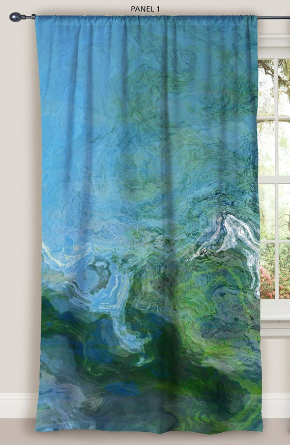 Sheer drapery set with Abstract Art in turquoise and orange two 50x84 panels modern rod pocket drapes Southwest Archetype sheer drapes
