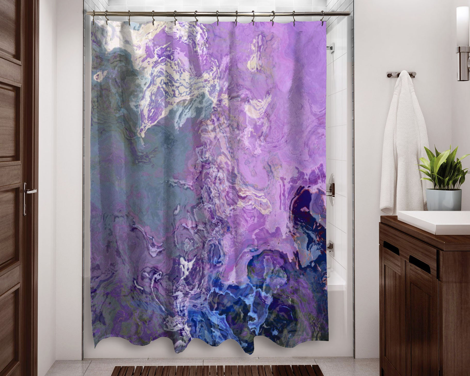 Abstract shower curtain contemporary bathroom decor lavender | Etsy