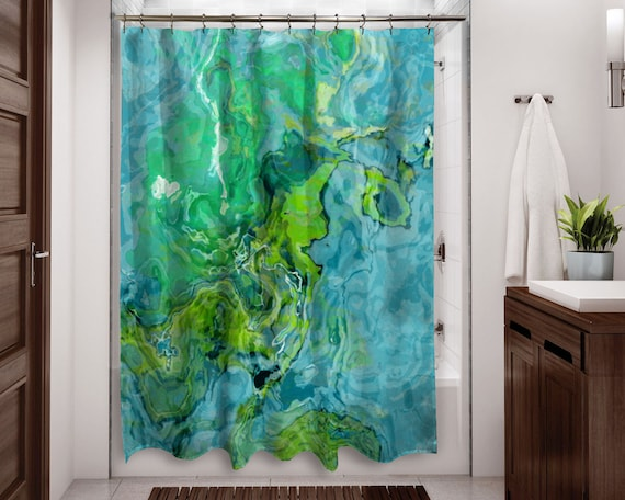 Abstract Art Shower Curtain Contemporary Bathroom Decor Aqua