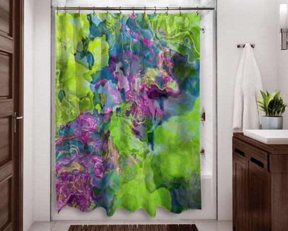 blue and green shower curtain purple Abstract art bathroom decor Beautyberry