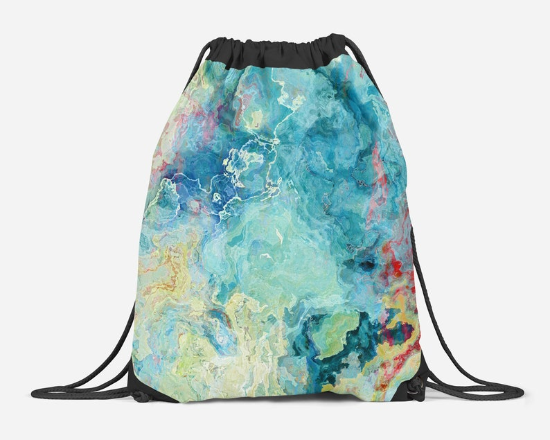 82f22a9a8a Abstract Art Drawstring Gym Bag Contemporary Lined Cinch