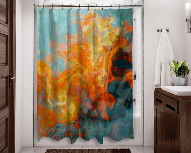 Abstrait art déco orange jaune et turquoise de salle de bain | Etsy