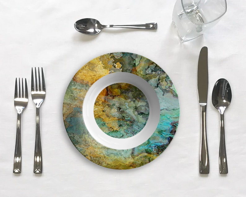 Kinetic Green and Brown No Melamine in Blue Unbreakable Outdoor Dinnerware Microwave Safe Polymer Plastic Abstract Art Plate or Bowl