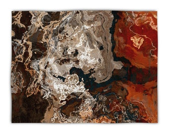 Abstract Art plush fleece blanket throw, 50x60, 60x80, lightweight fleece throw, brown and rust, contemporary decor, Hammered Copper