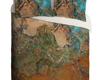 Duvet Cover with abstract art, king duvet cover or queen duvet cover in orange, turquoise and copper, bedroom decor, Canyon Sunset