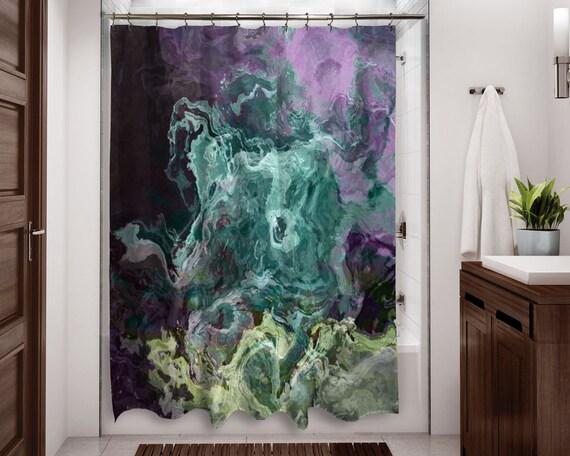 guest bath curtain, Contemporary shower curtain abstract  grey violet green fabric shower curtain modern bathroom decor