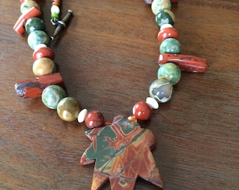 Maple leaf jasper and rhyolite necklace