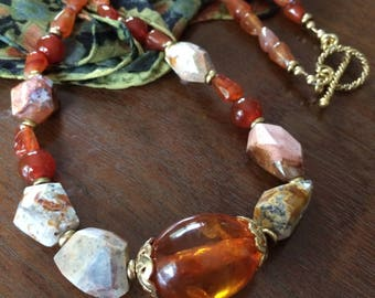Amber, fire opal, and carnelian necklace