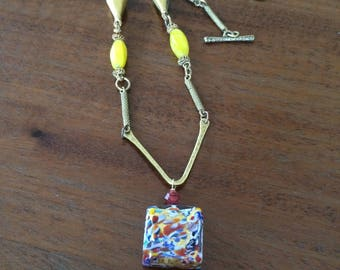Glass and vintage brass necklace with Klimt-inspired focal