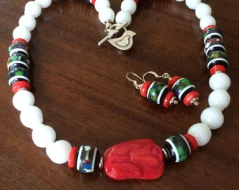 Coral, confetti resin, and milk glass necklace and earrings set