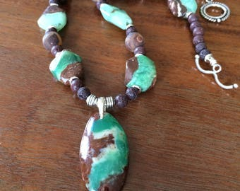 Chrysoprase necklace in sterling silver
