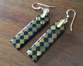 Tiger's eye and obsidian checkerboard earrings