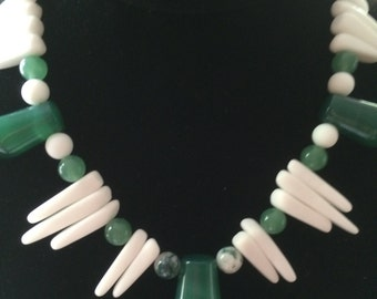 Green and white glass necklace with vintage German drops