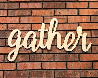 Gather Word - Large Gather Wood Sign - Rustic Farmhouse Decor - Wooden Letters - Wooden Phrase - Gather Wood Sign - Gather Sign - Home Decor